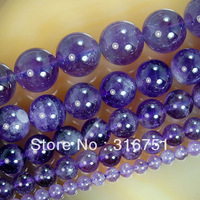 "Hot Sale Free Shipping 15.5"" Natural Purple Amethyst Round Beads 4 6 8 10 12mm Pick Size Aa"