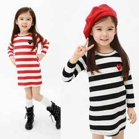 2014 Children Clothes New Fashion Girls Spring Autumn Dresses Cotton Striped Mini Casual Dress Red, Black, Free Shipping MY020