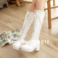winter shoes woman new 2014 Fashion high lacing martin boots thick heel strap high-leg cos boots white black casual long boots