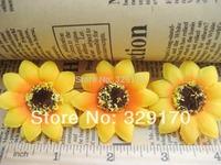 25 two-tone sun flower Artificial Silk Flower Heads Craft Wedding 1.5: SF115