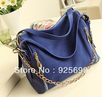 Freeshipping Fashion Scrub 2013 Genuine Leather Vintage Chains Strap Shoulder Bag Cross Body Women's Messenger Cross Body bags