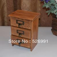 Free Shipping Zakka retro vintage wool finishing jewelry storage box cabinet storage cabinet double drawer wood wooden box  Gift