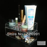 Free Shipping Fashion cosmetic box transparent double layer cosmetic box Large cosmetic box large storage box 069  Gift