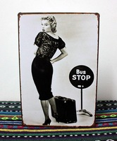 20cm*30cm tinplate poster painting retro vintage  finishing decorative mural furnishings wall #BUSSTOP