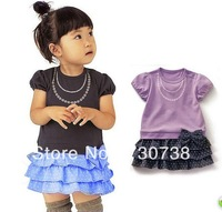 3Free shipping Wholesale 1pcs  summer Pearls short-sleeved dress Girls ladies bow wave point dress