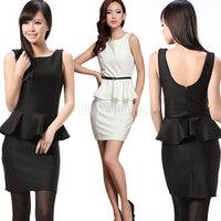 HK Free Shipping Ladies Womens Black White Slim Fitted Bodycon Peplum Frill Mini Dress