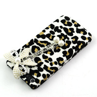 two color Leopard Pearl Beads Bow Bowknot  Bling Diamond Back Cover Case for Apple iPhone 4 4S  free shipping
