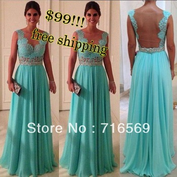 Vestidos de fiesta Hot Sale Sheath Sweetheart Beadings Nude Back Blue Lace Chiffon 2013 Sexy Long Evening Dresses prom dresses