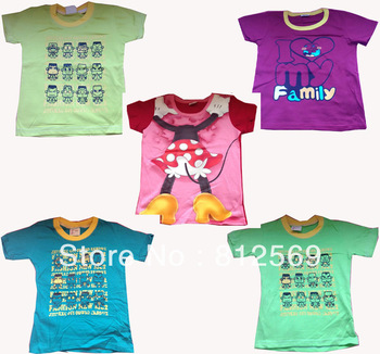 Free shipping 2013 New kids T Shirt children's Short Sleeve T Shirt ,  Cartoon love family,cotton,multi colors ,3 size,drop ship