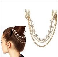 High Quality Wholesale 2014 Fashion Headwear Flower Hair Accessories Pearl Tassel Chain Headbands For Women  F063