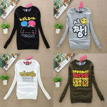 HOT Selling! 2014 Free Shipping,Women's  long sleeve Printed Hoodies Leasure Sport Coat Sweatshirt Tracksuit Tops Outerwear 9
