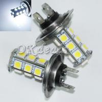2X Car Parking H7 18 SMD 5050 LED Xenon White Car Headlight Fog Day Light Lamp Bulb 12V