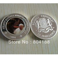 Mix order DHL 100pcs/lot  free shipping Nelson Mandela Meets Pope John Paul II Somali Republic 25 Shillings Silver Plated Coins