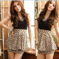 women ladies' cute Sexy club Sleeveless Leopard evening ruffle dress, maxi casual dress Free Shipping W3210