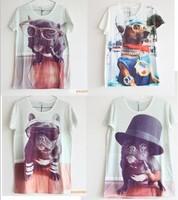 [Amy] free shipping 2013 Women/men fashion summer 3D animal t shirt cool dog plus size T-shirt novelty tee