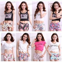 Hot Sale!Women's Flowers Floral Print Elastic 8 Color Jean Style Mini Sexy Short  Pants  S,M,L Free Shipping 1pcs/lot