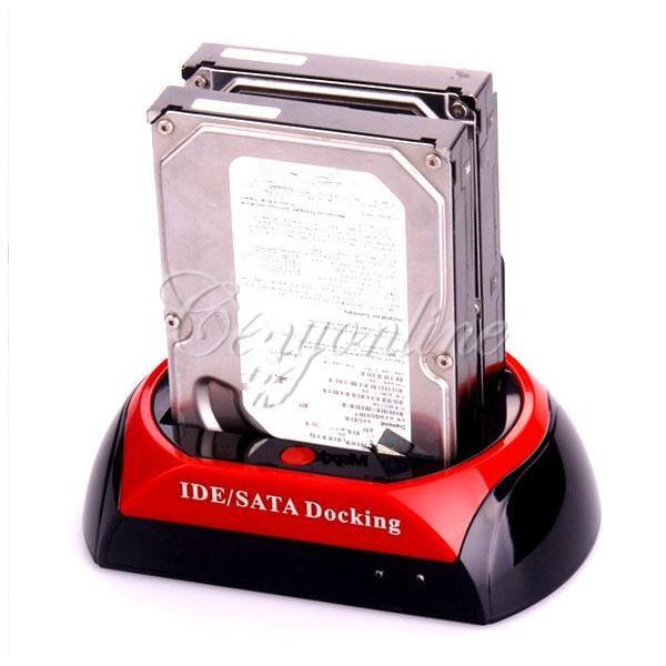 """2.5"""" 3.5"""" 2 SATA 1 IDE HDD Hard Disk Drive Twin Dual Docking Station Clone USB HUB Reader External HDD Enclosure Free Shipping(China (Mainland))"""