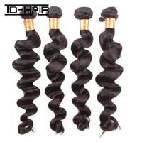 Aliexpress 6A unprocessed Peruvian virgin hair extension loose wave 4pcs lot 100% human hair weave bundles Natural Color 1B