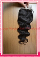"Free Shipping Brazilian Virgin Hair Lace Top Closure Body Wave 3.5""*4"" hair closures virgin brazilian wavy queen hair products"