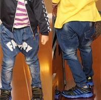 2014 new arrival wholesale 5pieces/lot fashion haren demin kids jeans letter factory printing children pants