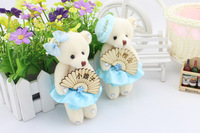 12cm plush bear toys Blue Dress Wood Fan Decoration For Wedding Gift,Cell Accessories,Christmas Gift 4pairs/lot