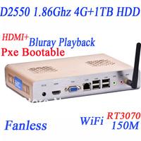 cheap desktop computers fanless with 4G RAM 1TB HDD WIFI HDMI Intel Dual core four thread D2550 1.86Ghz CPU