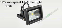 free shipping IP65 waterproof 85-265V high power 10w color changing outdoor led flood light, rgb led flood light 10pcs/lot