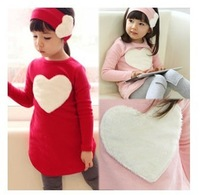 2014 autumn spring  Love full dress t-shirt patch legging hair bands three pieces set  big girls clothing
