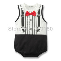Free shipping 3pcs/lot Baby boys Gentleman Design romper with bowknot infant Summer jumpsuit newborn sleeveless Climb Clothes