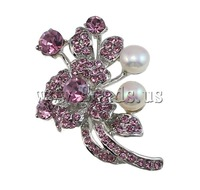 Free shipping!!!Rhinestone Brooch,fashion brand, with Cultured Freshwater Pearl & Brass, Flower, with rhinestone, pink