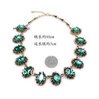 Free Shipping 2014 New Arrival Gold Chian Big Rhinestone Geometric Bib Statement Choker Necklace Vintage Jewelry For Woman