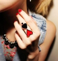 Free shipping fashion accessories HARAJUKU murua hold'em spades love metal female ring
