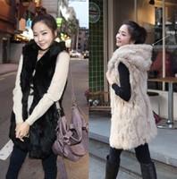 new hot selling plus size women autumn and winter hooded faux vest medium-long coats abrigo de piel casaco de pele de femininas