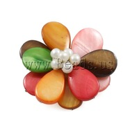 Free shipping!!!Shell Brooch,wedding jewellery, with Cultured Freshwater Pearl & Brass, Flower, 45x46mm, Sold By PC