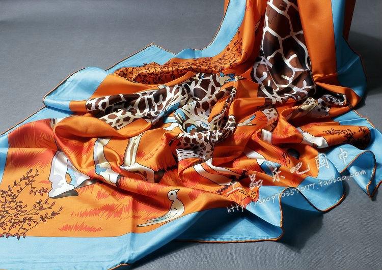 140x140cm pure silk muslim giraffe scarf islamic head scarf 2014 winter hijab bandana free shipping(China (Mainland))