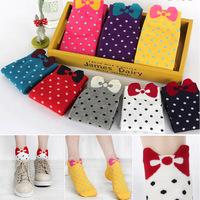 Cotton Socks 10pairs/lot Multi Candy Color Women's Gir's Cute Sock Three-dimensional Bow Polka Dot Ankle Socks 20pcs=10pairs