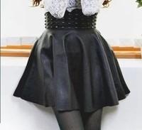 Fashion PU Leather Women Skirt Casual Sexy Club Femininas Saias Woman Rivet High Waist Black Short Mini Female Skirt 6304