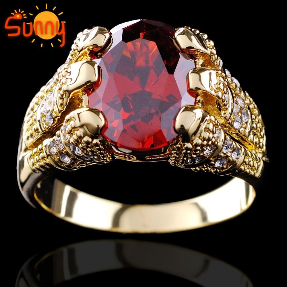 Sz9 10 11 12 Jewellery Fashion Ruby Gentlemen s 10KT yellow Gold Filled Married Rings