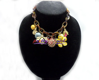 Most Unique Big Coffe Link Chain With Enamel Honey Bee And Flower Necklace Free Shipping 2014,JP72209