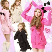 2013 New Arrival  Cute Rabbits'  Ears Hooded Coat Soft & Warm  Free Shipping Wholesale WWW019