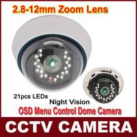 Genuine SONY CCD Effio-E 700TVL Camera 2.8-12mm lens OSD MENU 21IR LEDs CCTV INDOOR Dome Camera Vari-Focal Lens Security CCTV