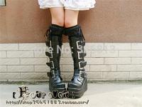 Free shipping Fourever-sd lolita 10cm platform shoes black buckle boots