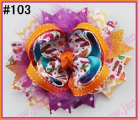 free shipping 80pcs NEWEST Halloween hair bows mix korker bows and boutique hair bows and layered corker bows