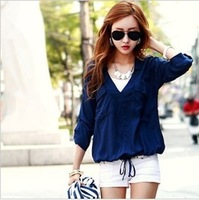 HOT!!Free shipping!! 2013 Fashion shirts for Women Draw string open shirt  Viscose blue and white two colors to choose