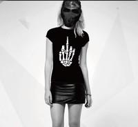 2013 Summer fashion T shirt cotton O-neck loose men&women unisex short-sleeve 'fuck hand' plus size t-shirt Free shipping
