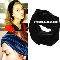 2013 New Arrival Celebrity Style Vintage Double Stretch Velvet Turban Headband Headwrap Black Dark Blue Wine Red Free Shipping