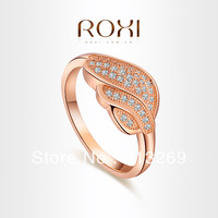ROXI brand Fashion leaf Crystal Ring,18K Rose Gold Plated rings for women,Zircon crystal,fashion jewelry for women,101028384