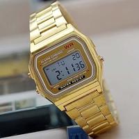 2014 hot fashion Vintage Watches LED electronic watch Samurai watch ultra-thin wrist watch F-91W gold / silver