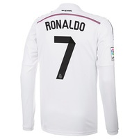New 14/15 Real Madrid Home Long Sleeve #7 Cristiano Ronaldo White Jersey 2014-15 Cheap Soccer Unforms Footabll kit