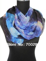 20pcs/lot Fashion Ladies Galaxy planet space Star Sky Print Circle Loop Infinity Scarf ,Free Shipping